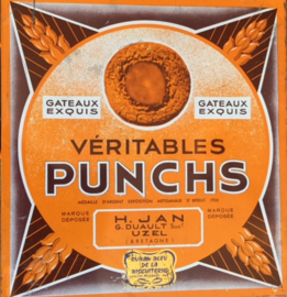 Vintage Franse koektrommel koekblik Veritable Punchs 1960