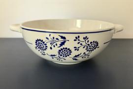 Antieke K & G Lunéville Aronde dekschaal terrine blauw bloem motief