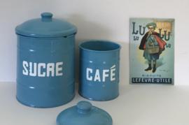 Set voorraad blikken potten Sucre en Café met deksel
