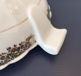 Nieuwe Franse Limoges dekschaal terrine verguld porselein