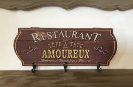 Vintage kapstokje wandrekje Restaurant pour Tête à tête entre Amoureux