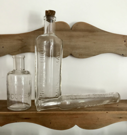 Antieke set medicinale flesjes eau des carmes alcool de menthe de Ricqlès en Presure brun