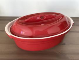 BCJ Bretagne Cocotte kersenrood keramiek ovale ovenschaal met deksel