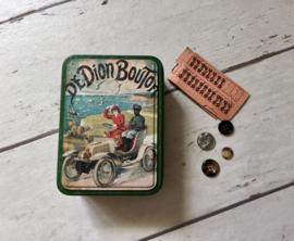 Frans blik, bus, trommel, knopendoos De Dion Bouton