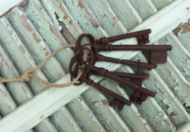 Zes antieke Franse sleutels