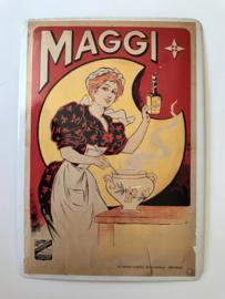 Franse metalen reclamekaart Maggi opbollend