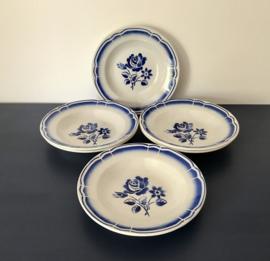 Zes Badonviller diepe borden blauwe bloemen