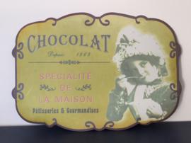 Metalen bord reclamebord Chocolat Specialité de Maison