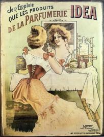 Franse metalen reclamekaart wandbord Parfumerie Idea