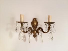 Wandlampje met glashangers dubbel brons