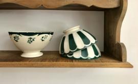 Digoin Sarreguemines groen geschulpte antieke bowl terre de fer