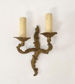 Antiek Frans messing wandlampje met twee lichtpunten
