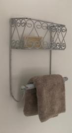 Frans vintage metalen badkamerrekje wandrekje grijs