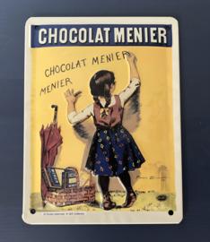 Frans blikken metalen reclamebord in reliëf Chocolat Menier