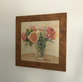 Ingelijste reproductie van aquarel L. David vaas met bloemen