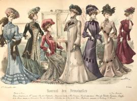 Lithographie mode kleur Journal des Demoiselle modes de Paris E