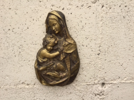 Mariabeeldje met kindje Jezus, wandbeeldje, verguld