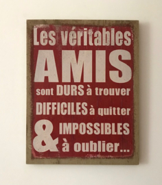 Les véritables amis ......Franse spreuk op canvas
