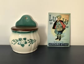 Franse vintage Lunéville zoutpot aardewerk porselein hout