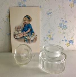 Kristallen 10 kantige inktpot met schenkring / pennenhouder