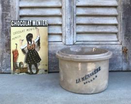 Antieke Franse grès pot inmaakpot La Ménagère 4/4