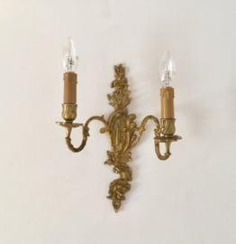 Klassieke Franse vergulde bronzen wandlamp