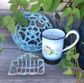 Zeepbakje antiek geëmailleerd gietijzer kleur turquoise