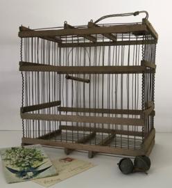 Antiek Frans houten vogelkooitje begin 20e eeuw