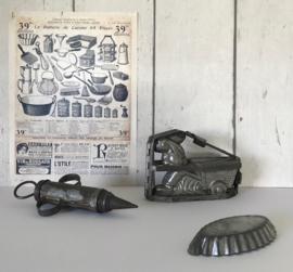 Antieke Franse chocolade mal paashaas met handkar zeer zeldzaam