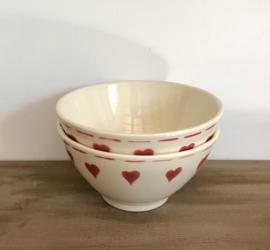 Lunéville Franse bowl kom spoelkom roze hartjes