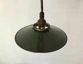 Franse geëmailleerde groene schotellamp fabriekslamp industrieel