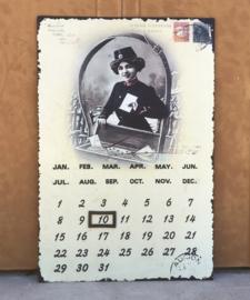 Metalen Frans kalenderbord met magneetje