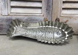 Brocante aluminium bakvorm vis