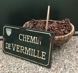 Frans groen geëmailleerd straatnaambord Chemin de Vermille Rochemaure
