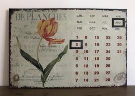 Frans metalen kalenderbord met magneetjes en tulp