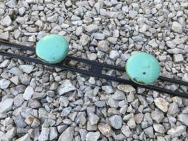 Vintage Frans groen/zwarte metalen knoppen wandkapstok