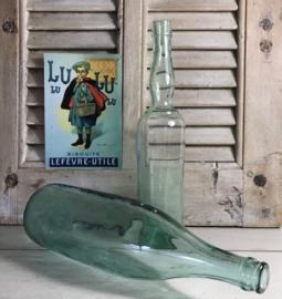 Mooi gevormde 1/2 liter fles (vaasje) blauw/groen glas