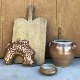 Antiek Frans grès potje klein bakje asbakje steengoed