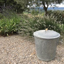 Vintage Franse zinken wasketel ton vat met deksel