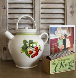 Digoin Sarreguemines confit pot waterkruik met kersen