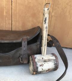 Antieke houten Franse hamer primitief industrieel gereedschap