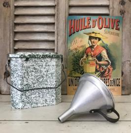 Vintage Franse aluminium trechter met ijzeren oor
