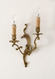 Franse antieke dubbele Louis XV wandlamp Rococo stijl verguld brons