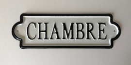 Frans metalen deurbordje slaapkamer Chambre zwart/wit
