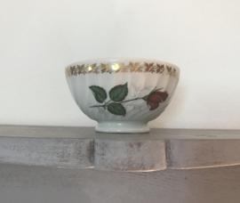 Mini bowl spoelkom met roos en vergulde blaadjes rand