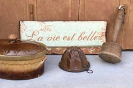 Antieke roodkoperen puddingvorm met ophangoog (ster model)
