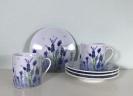 Set van 4 lavendel kop en schotels van Afibel