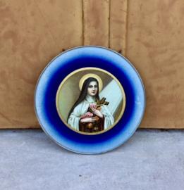 "Antiek Frans religieus ingelijst ""icoon"" Maria/Madonna"