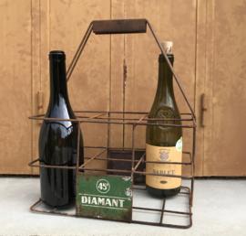 Vintage metalen flessenrek voor 6 flessen diamant pastiche
