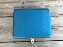 Geldkist vintage hamerslag, blauw, turquoise, metallic